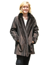Sheared Mink Reversible Cashmere Black Cape with Mink Trim