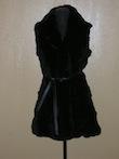 32-inch, Black Sheared Rabbit Section Vest, Shawl Collar, Skinny